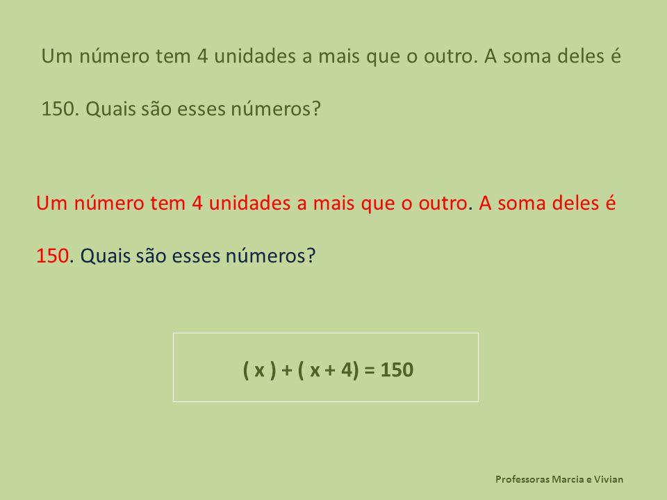 Professoras Marcia e Vivian Um número tem 4 unidades a mais que o outro. A soma deles é 150. Quais são esses números? ( x ) + ( x + 4) = 150