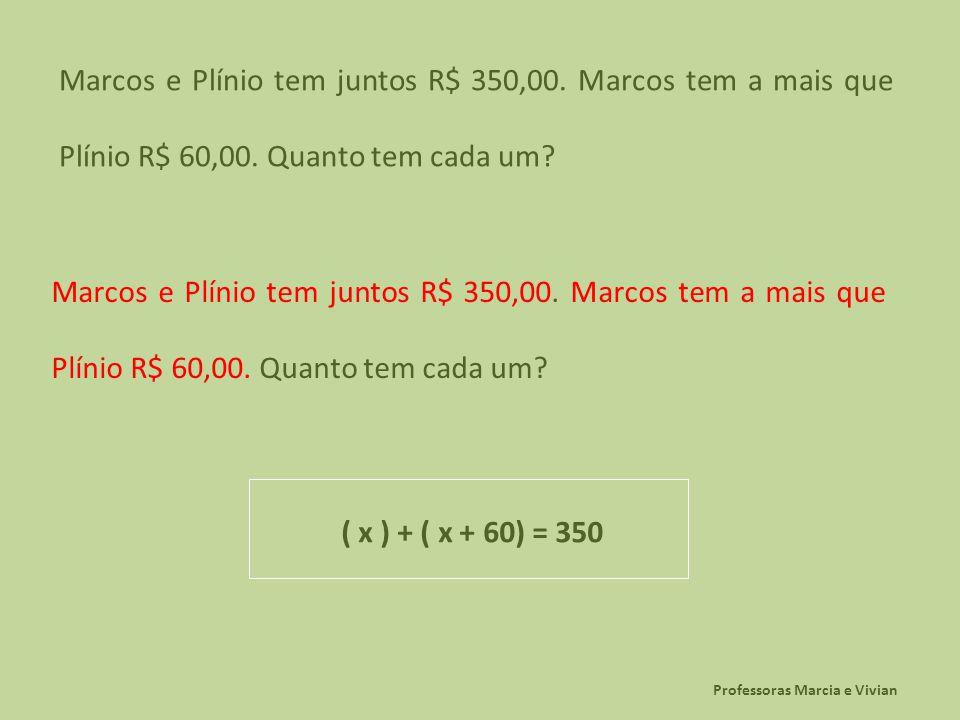 Professoras Marcia e Vivian Marcos e Plínio tem juntos R$ 350,00. Marcos tem a mais que Plínio R$ 60,00. Quanto tem cada um? ( x ) + ( x + 60) = 350