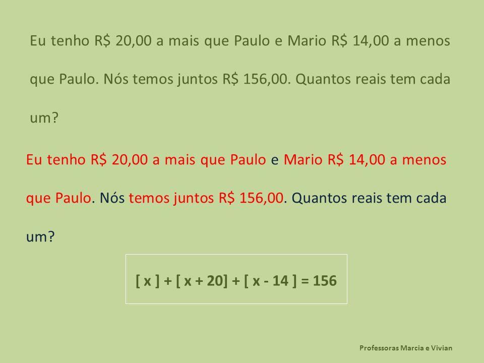 Professoras Marcia e Vivian Eu tenho R$ 20,00 a mais que Paulo e Mario R$ 14,00 a menos que Paulo. Nós temos juntos R$ 156,00. Quantos reais tem cada