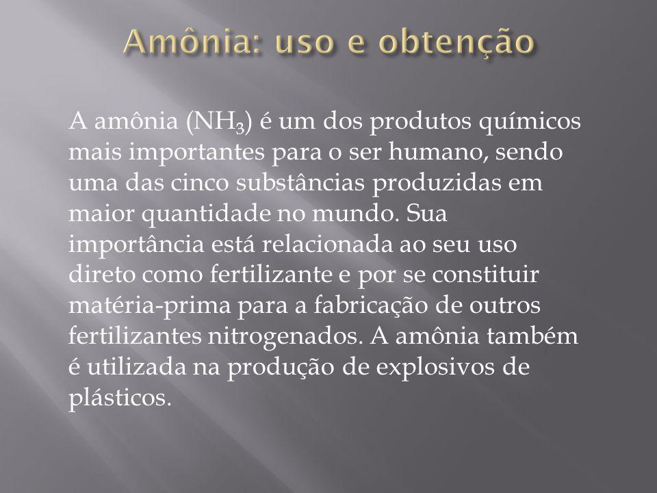 A amônia (NH 3 ) é um dos produtos químicos mais importantes para o ser humano, sendo uma das cinco substâncias produzidas em maior quantidade no mund