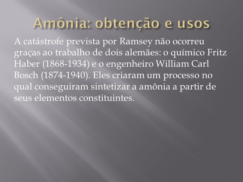 A catástrofe prevista por Ramsey não ocorreu graças ao trabalho de dois alemães: o químico Fritz Haber (1868-1934) e o engenheiro William Carl Bosch (