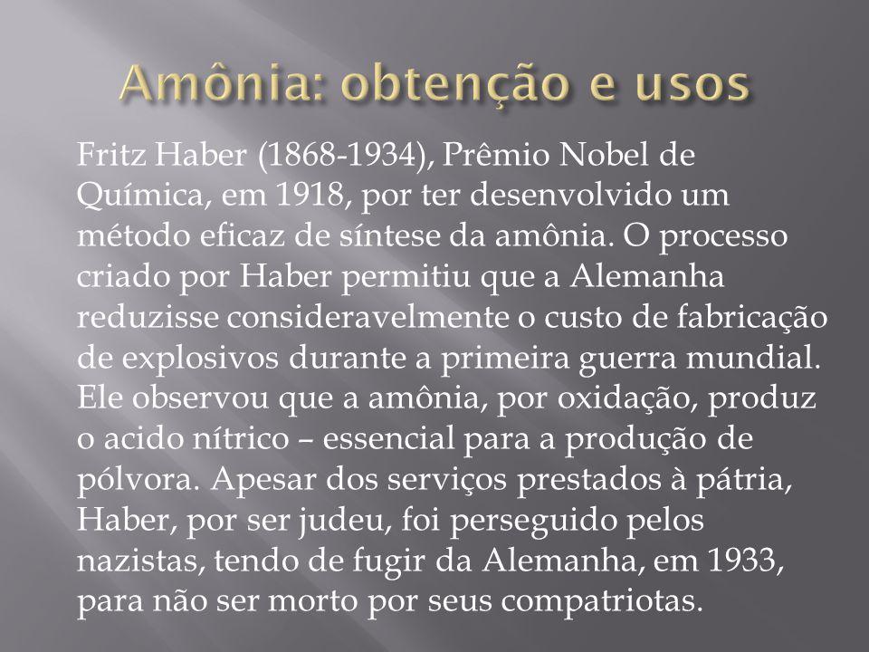 Fritz Haber (1868-1934), Prêmio Nobel de Química, em 1918, por ter desenvolvido um método eficaz de síntese da amônia. O processo criado por Haber per