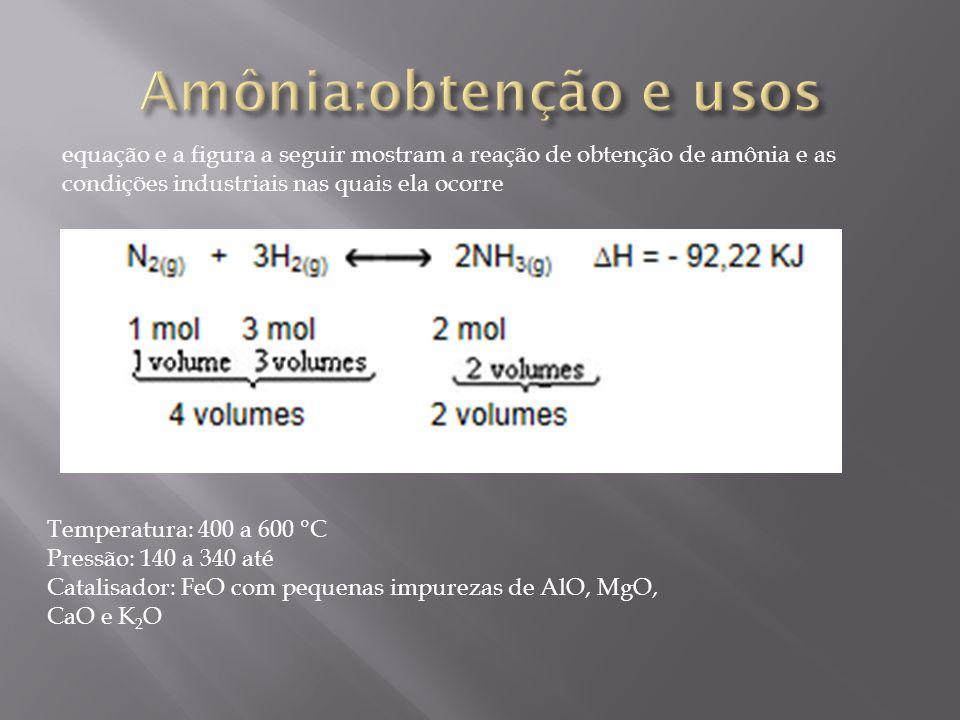 equação e a figura a seguir mostram a reação de obtenção de amônia e as condições industriais nas quais ela ocorre Temperatura: 400 a 600 °C Pressão: