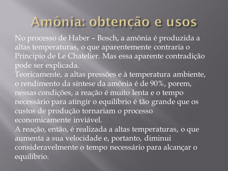 No processo de Haber – Bosch, a amônia é produzida a altas temperaturas, o que aparentemente contraria o Principio de Le Chatelier. Mas essa aparente