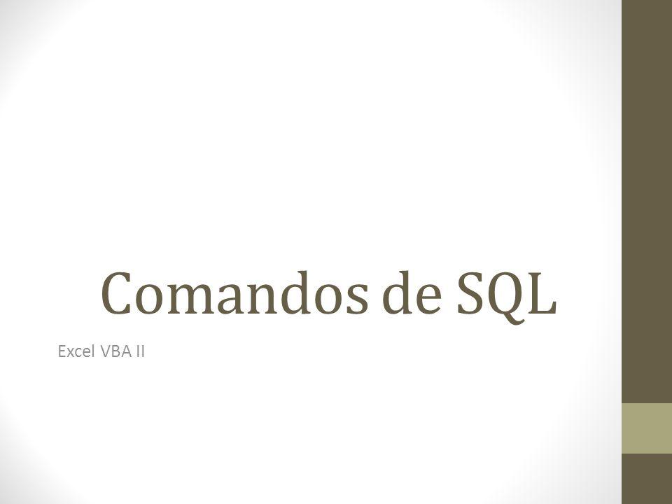 Comandos de SQL Excel VBA II