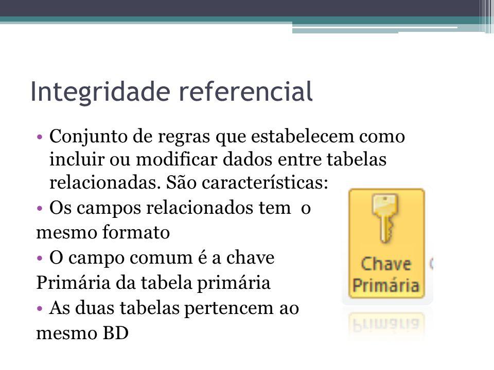 Integridade referencial Conjunto de regras que estabelecem como incluir ou modificar dados entre tabelas relacionadas. São características: Os campos
