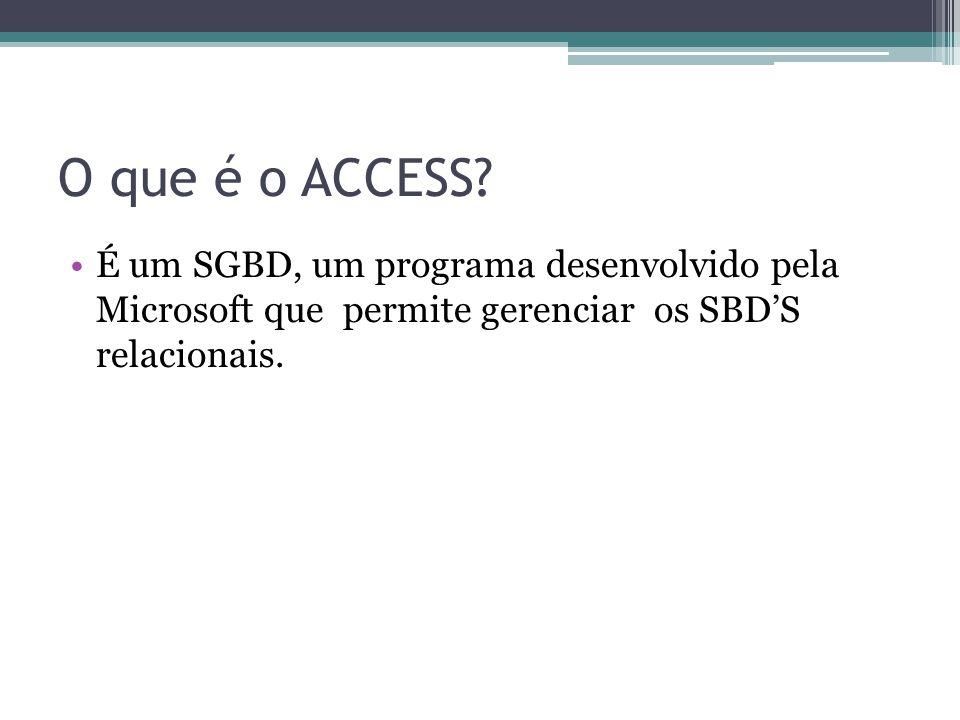 O que é o ACCESS? É um SGBD, um programa desenvolvido pela Microsoft que permite gerenciar os SBDS relacionais.
