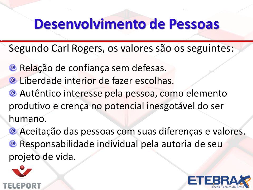 Desenvolvimento de Pessoas Segundo Carl Rogers, os valores são os seguintes: Relação de confiança sem defesas. Liberdade interior de fazer escolhas. A