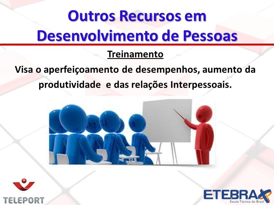 Outros Recursos em Desenvolvimento de Pessoas Treinamento Visa o aperfeiçoamento de desempenhos, aumento da produtividade e das relações Interpessoais