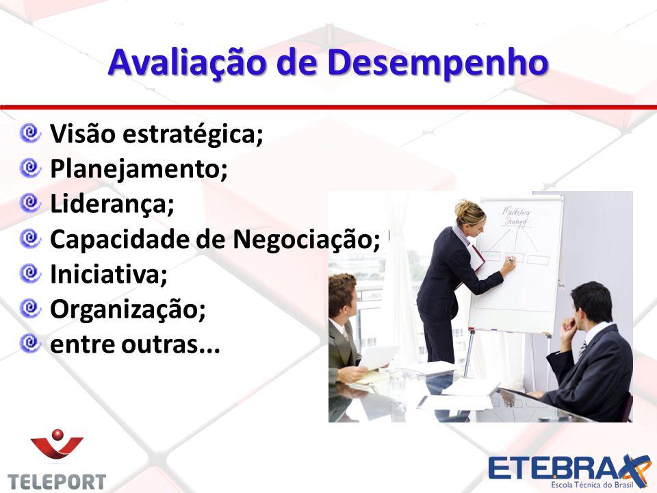 18 Visão estratégica; Planejamento; Liderança; Capacidade de Negociação; Iniciativa; Organização; entre outras... Avaliação de Desempenho