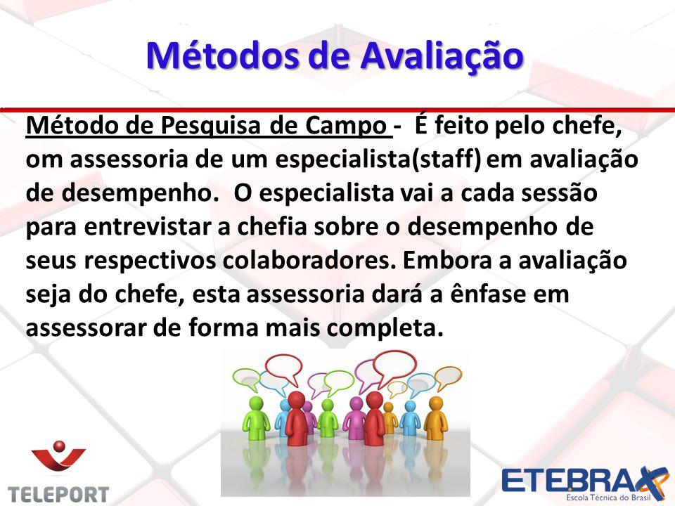 Métodos de Avaliação 19 Método de Pesquisa de Campo - É feito pelo chefe, om assessoria de um especialista(staff) em avaliação de desempenho. O especi
