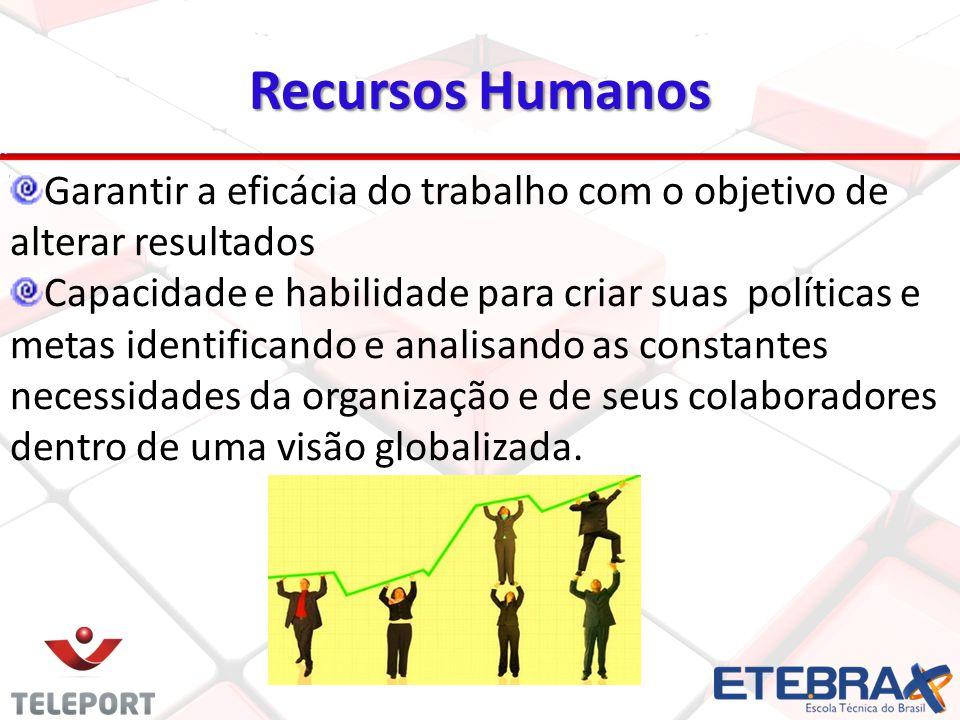 Recursos Humanos 5 Garantir a eficácia do trabalho com o objetivo de alterar resultados Capacidade e habilidade para criar suas políticas e metas iden