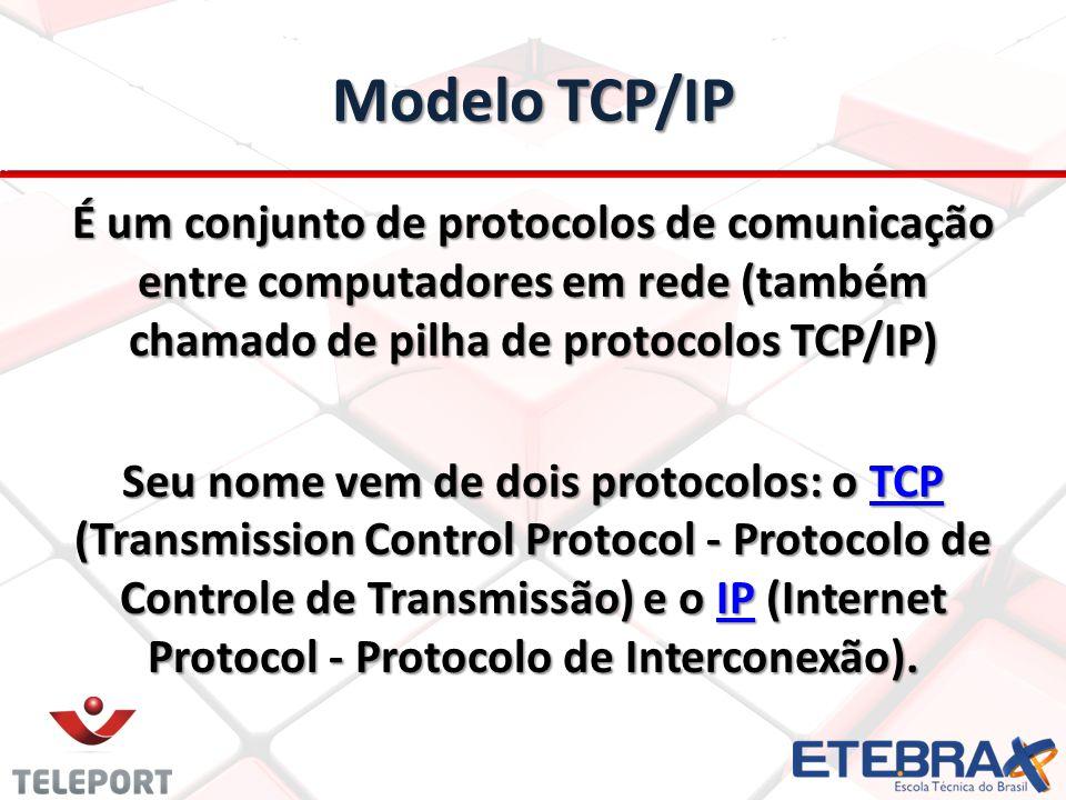 Modelo TCP/IP É um conjunto de protocolos de comunicação entre computadores em rede (também chamado de pilha de protocolos TCP/IP) Seu nome vem de doi