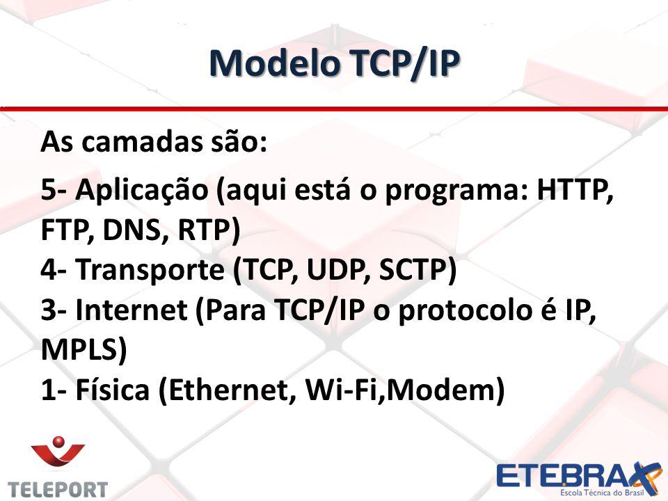 As camadas são: 5- Aplicação (aqui está o programa: HTTP, FTP, DNS, RTP) 4- Transporte (TCP, UDP, SCTP) 3- Internet (Para TCP/IP o protocolo é IP, MPL