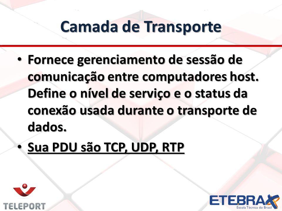 Camada de Transporte Fornece gerenciamento de sessão de comunicação entre computadores host. Define o nível de serviço e o status da conexão usada dur