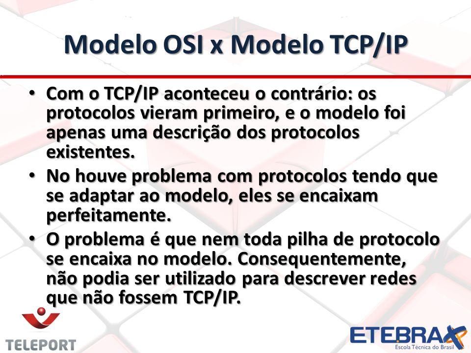 Modelo OSI x Modelo TCP/IP Com o TCP/IP aconteceu o contrário: os protocolos vieram primeiro, e o modelo foi apenas uma descrição dos protocolos exist