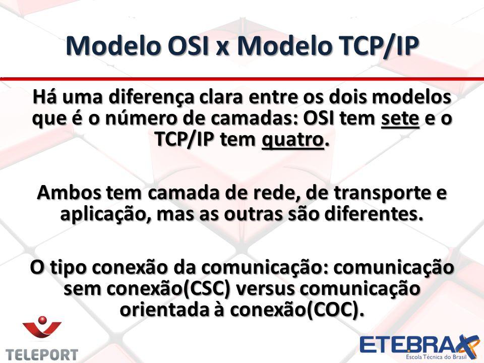 Modelo OSI x Modelo TCP/IP Há uma diferença clara entre os dois modelos que é o número de camadas: OSI tem sete e o TCP/IP tem quatro. Ambos tem camad