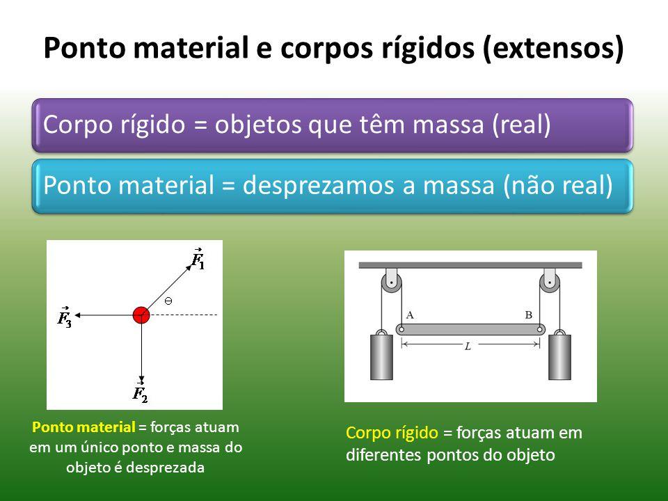 Ponto material e corpos rígidos (extensos) Corpo rígido = objetos que têm massa (real)Ponto material = desprezamos a massa (não real) Ponto material = forças atuam em um único ponto e massa do objeto é desprezada Corpo rígido = forças atuam em diferentes pontos do objeto
