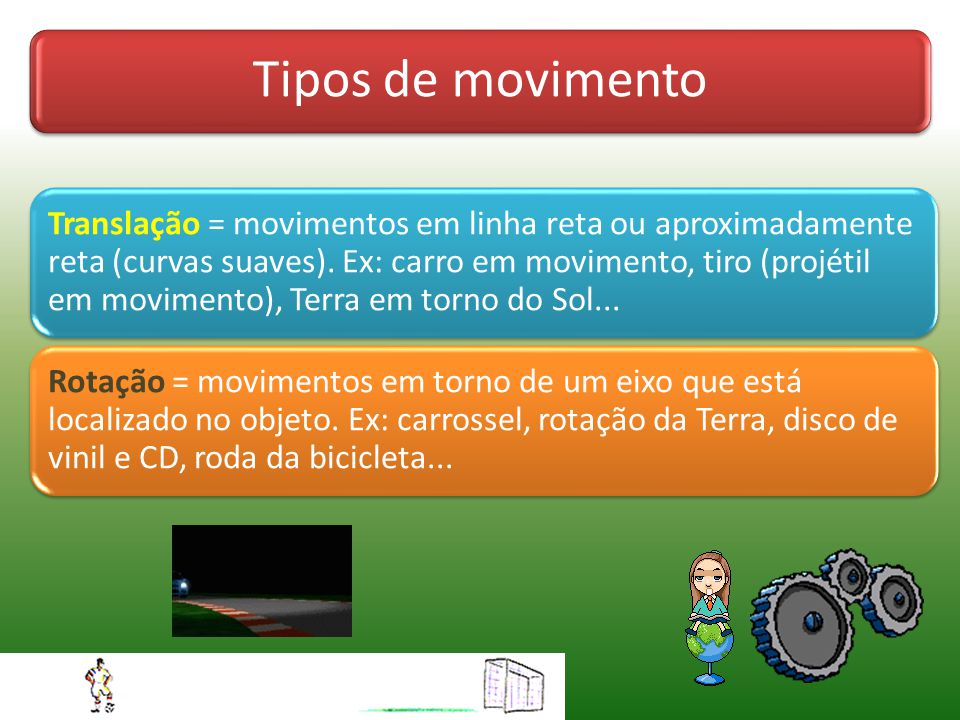 Tipos de movimento Translação = movimentos em linha reta ou aproximadamente reta (curvas suaves).