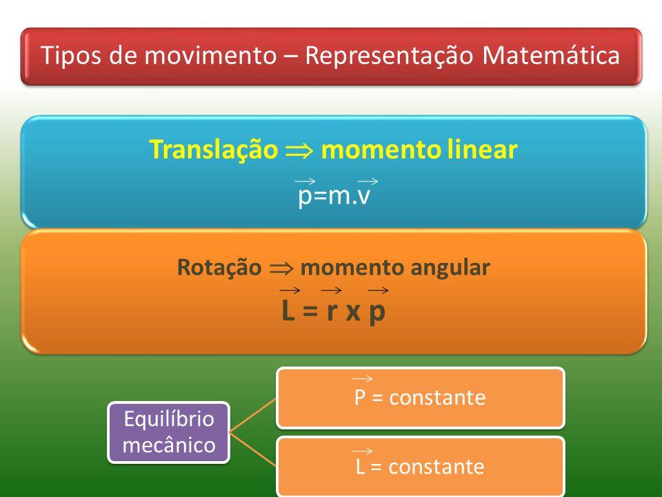 Tipos de movimento – Representação Matemática Translação momento linear p=m.v Rotação momento angular L = r x p Equilíbrio mecânico P = constanteL = constante