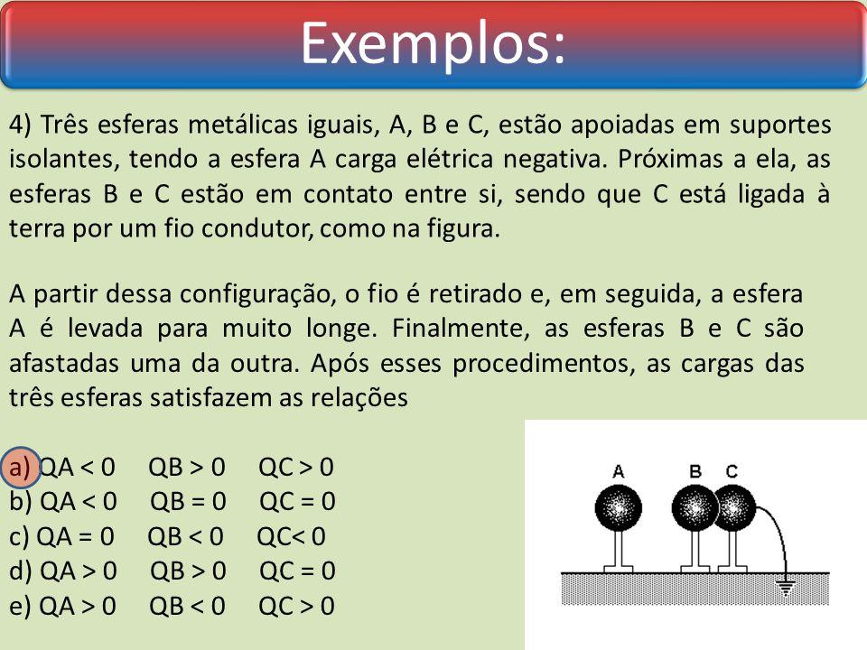 Após o contato, a carga elétrica adquirida pela segunda esfera é: a) Q/2 b) Q c) 2 Q d) nula e) 3 Q Exemplos: 3) Uma esfera metálica, sustentada por uma haste isolante, encontra-se em equilíbrio eletrostático com uma pequena carga elétrica Q.