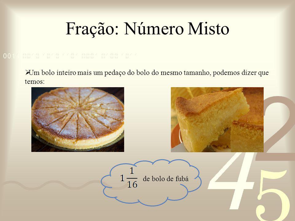 Fração: Número Misto Um bolo inteiro mais um pedaço do bolo do mesmo tamanho, podemos dizer que temos: de bolo de fubá