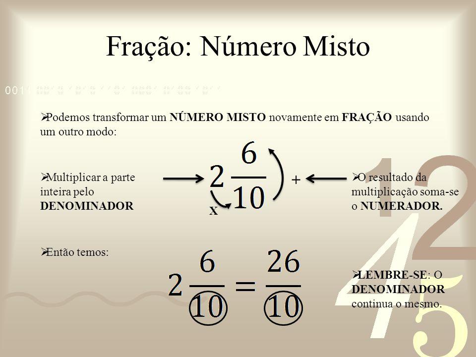Podemos transformar um NÚMERO MISTO novamente em FRAÇÃO usando um outro modo: Fração: Número Misto Multiplicar a parte inteira pelo DENOMINADOR X O re