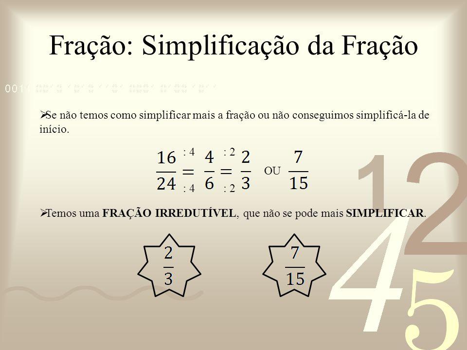 Fração: Simplificação da Fração Se não temos como simplificar mais a fração ou não conseguimos simplificá-la de início. OU Temos uma FRAÇÃO IRREDUTÍVE