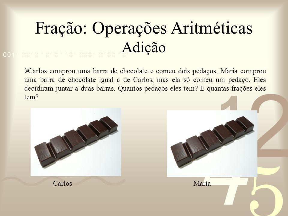 Fração: Operações Aritméticas Adição Carlos comprou uma barra de chocolate e comeu dois pedaços. Maria comprou uma barra de chocolate igual a de Carlo