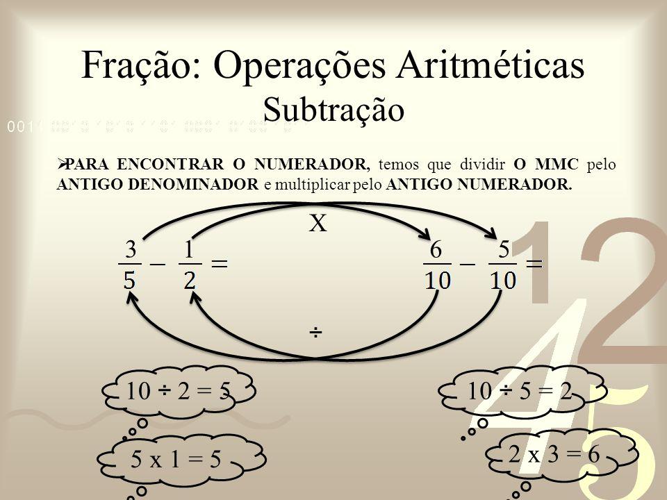 Fração: Operações Aritméticas Subtração PARA ENCONTRAR O NUMERADOR, temos que dividir O MMC pelo ANTIGO DENOMINADOR e multiplicar pelo ANTIGO NUMERADO