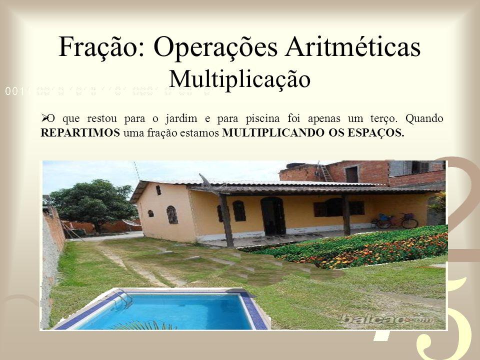 Fração: Operações Aritméticas Multiplicação O que restou para o jardim e para piscina foi apenas um terço. Quando REPARTIMOS uma fração estamos MULTIP