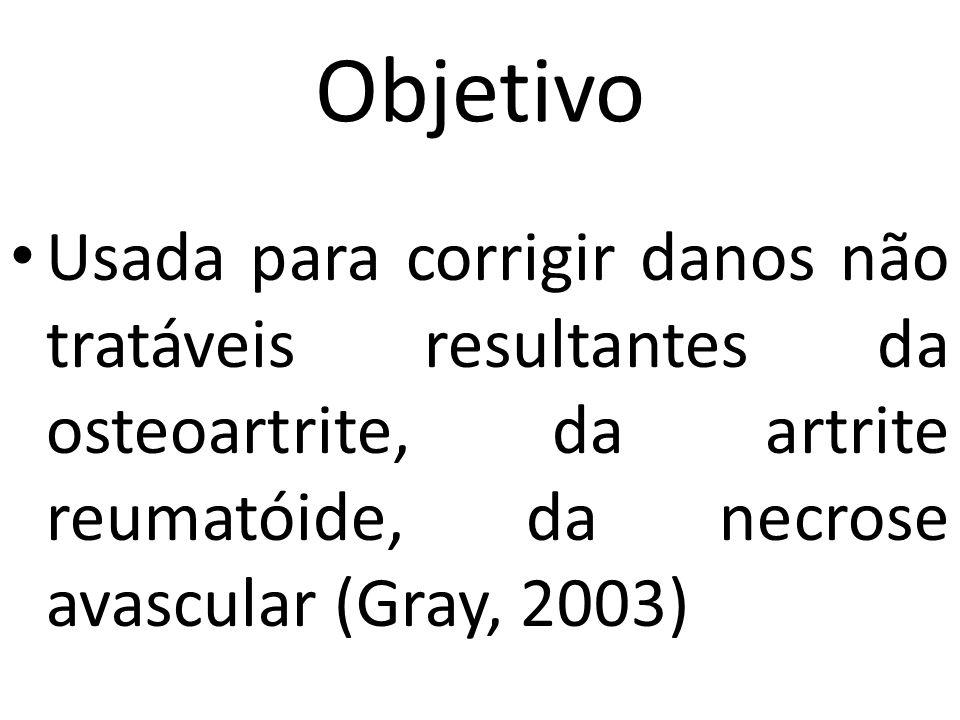 Objetivo Usada para corrigir danos não tratáveis resultantes da osteoartrite, da artrite reumatóide, da necrose avascular (Gray, 2003)