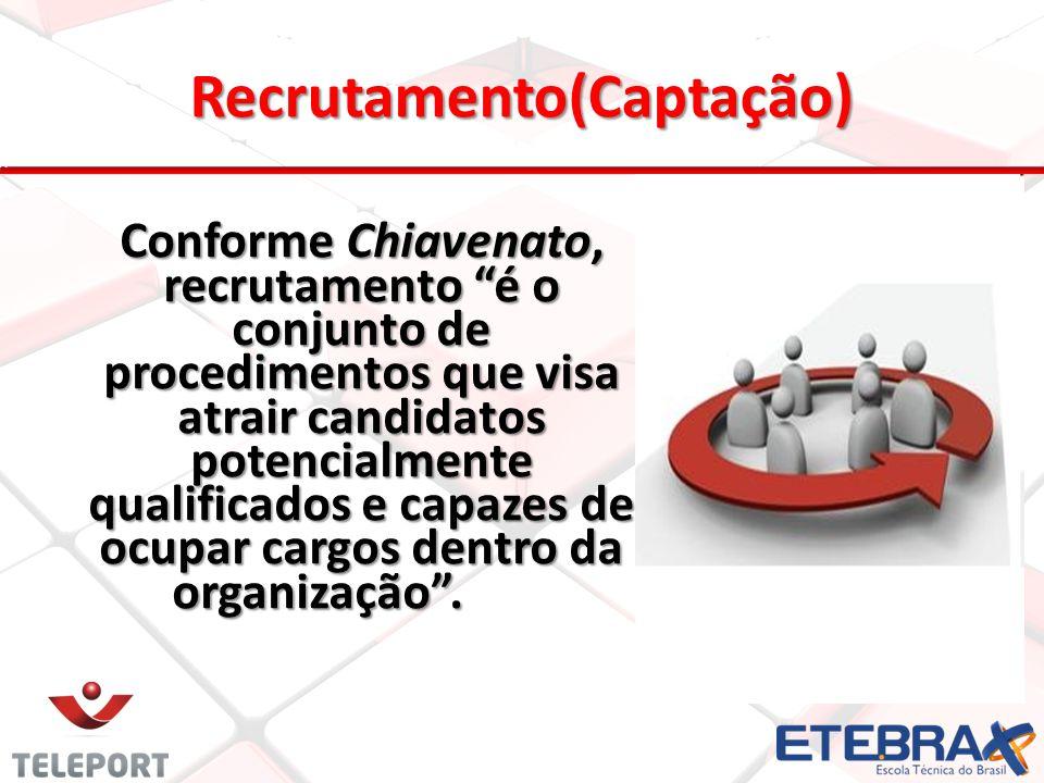 Recrutamento(Captação) Conforme Chiavenato, recrutamento é o conjunto de procedimentos que visa atrair candidatos potencialmente qualificados e capaze