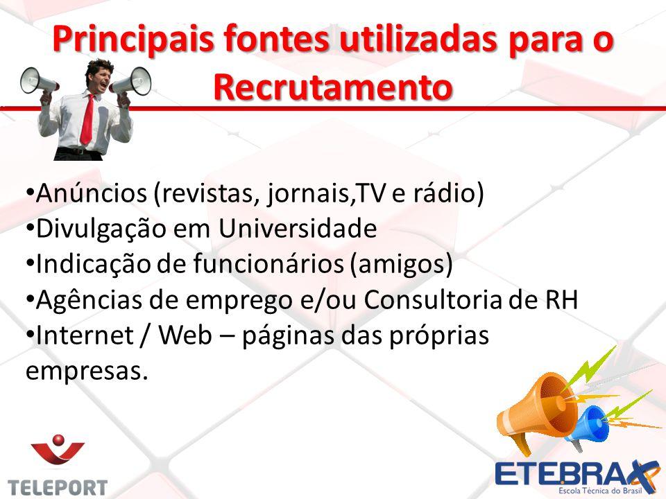 Principais fontes utilizadas para o Recrutamento 9 Anúncios (revistas, jornais,TV e rádio) Divulgação em Universidade Indicação de funcionários (amigo
