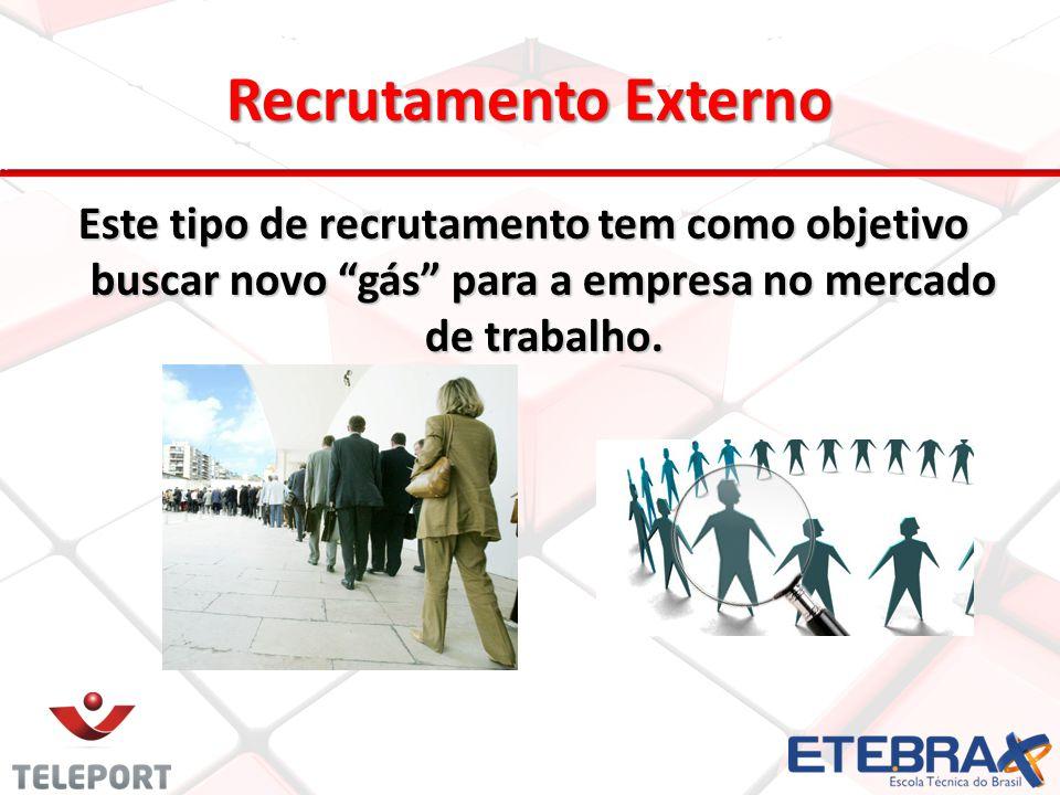 Este tipo de recrutamento tem como objetivo buscar novo gás para a empresa no mercado de trabalho. 13 Recrutamento Externo