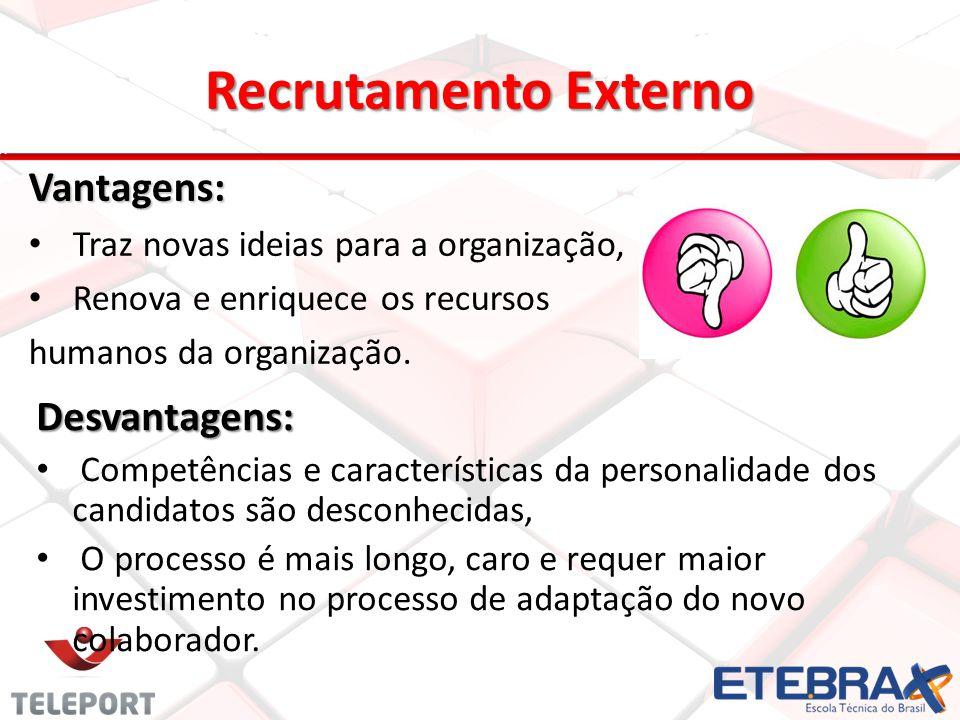 Vantagens: Traz novas ideias para a organização, Renova e enriquece os recursos humanos da organização. 13 Recrutamento Externo Desvantagens: Competên