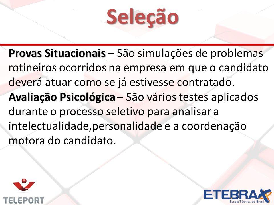 Seleção 20 Provas Situacionais Provas Situacionais – São simulações de problemas rotineiros ocorridos na empresa em que o candidato deverá atuar como