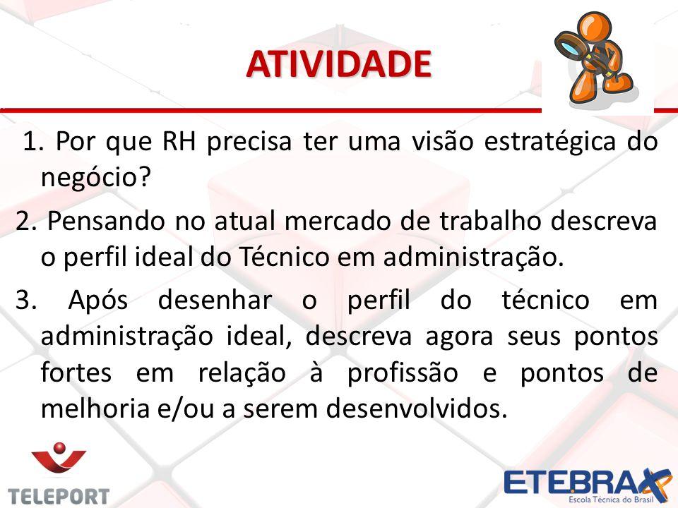 ATIVIDADE 1. Por que RH precisa ter uma visão estratégica do negócio? 2. Pensando no atual mercado de trabalho descreva o perfil ideal do Técnico em a