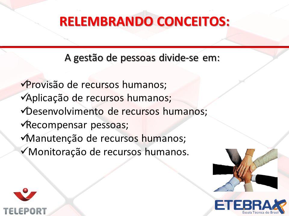 A gestão de pessoas divide-se em: Provisão de recursos humanos; Aplicação de recursos humanos; Desenvolvimento de recursos humanos; Recompensar pessoa