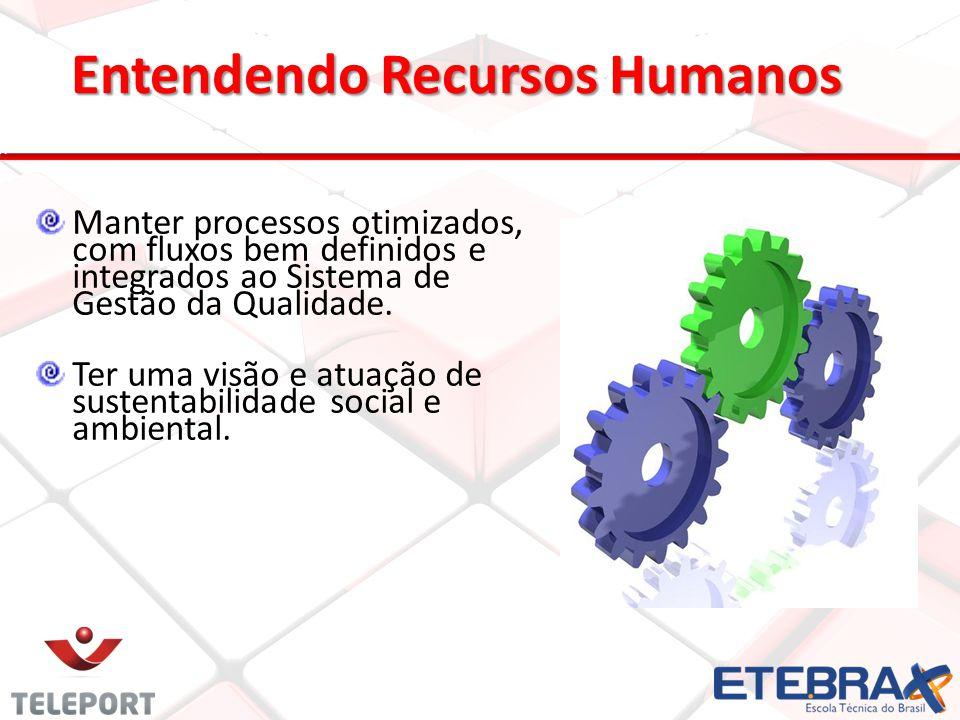 Entendendo Recursos Humanos Manter processos otimizados, com fluxos bem definidos e integrados ao Sistema de Gestão da Qualidade. Ter uma visão e atua