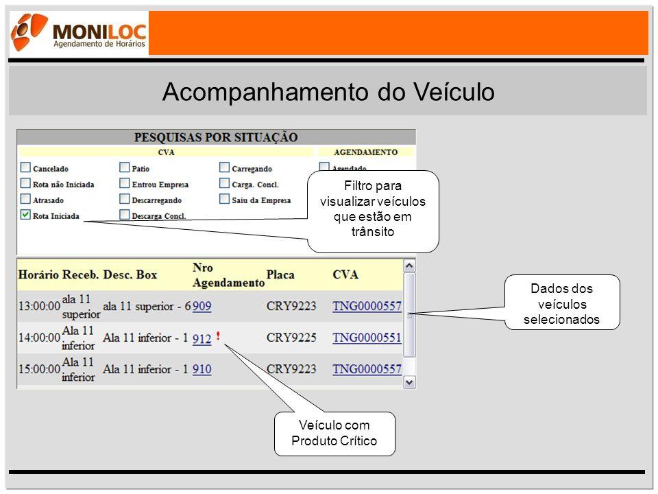 Filtro para visualizar veículos que estão em trânsito Dados dos veículos selecionados Veículo com Produto Crítico Acompanhamento do Veículo