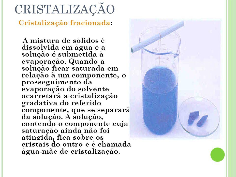 CRISTALIZAÇÃO Cristalização fracionada: A mistura de sólidos é dissolvida em água e a solução é submetida à evaporação. Quando a solução ficar saturad