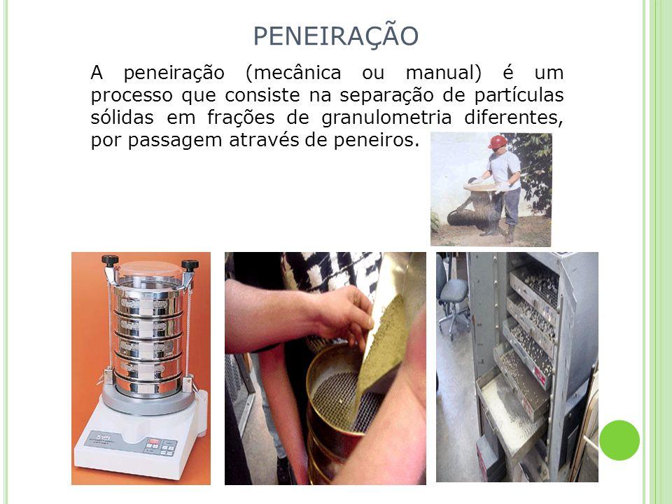 PENEIRAÇÃO A peneiração (mecânica ou manual) é um processo que consiste na separação de partículas sólidas em frações de granulometria diferentes, por
