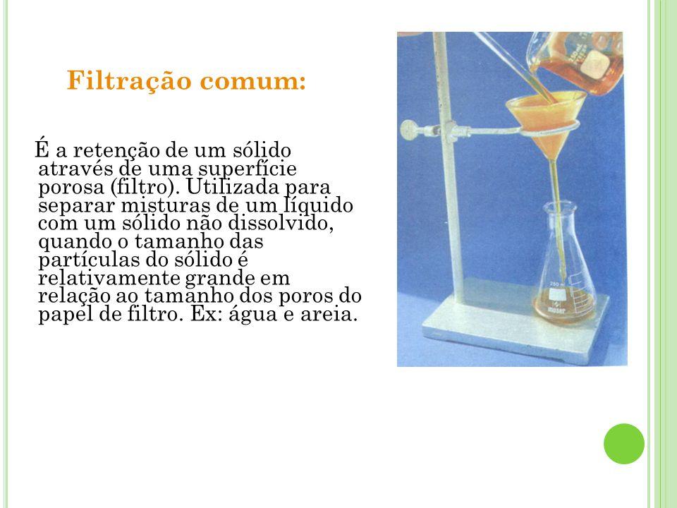 Filtração comum: É a retenção de um sólido através de uma superfície porosa (filtro). Utilizada para separar misturas de um líquido com um sólido não