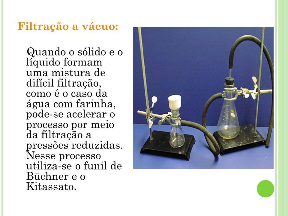 Filtração a vácuo: Quando o sólido e o líquido formam uma mistura de difícil filtração, como é o caso da água com farinha, pode-se acelerar o processo