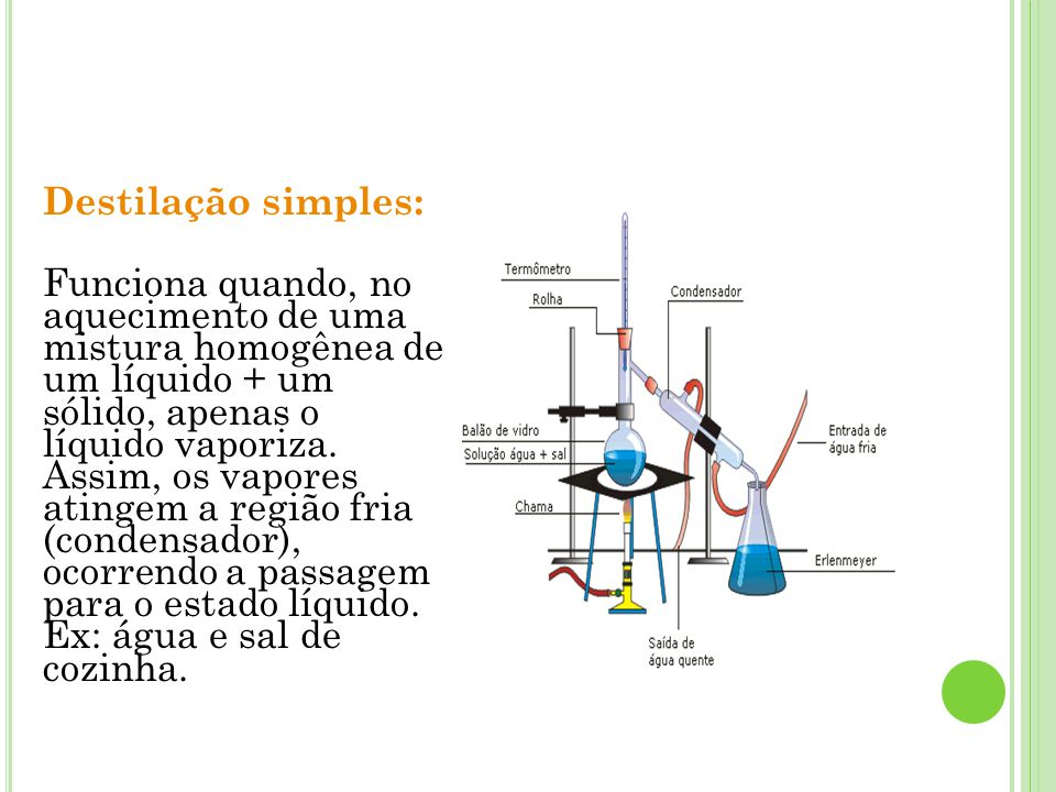 Destilação simples: Funciona quando, no aquecimento de uma mistura homogênea de um líquido + um sólido, apenas o líquido vaporiza. Assim, os vapores a