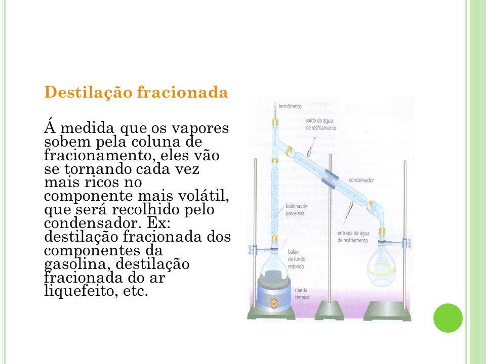 Destilação fracionada Á medida que os vapores sobem pela coluna de fracionamento, eles vão se tornando cada vez mais ricos no componente mais volátil,