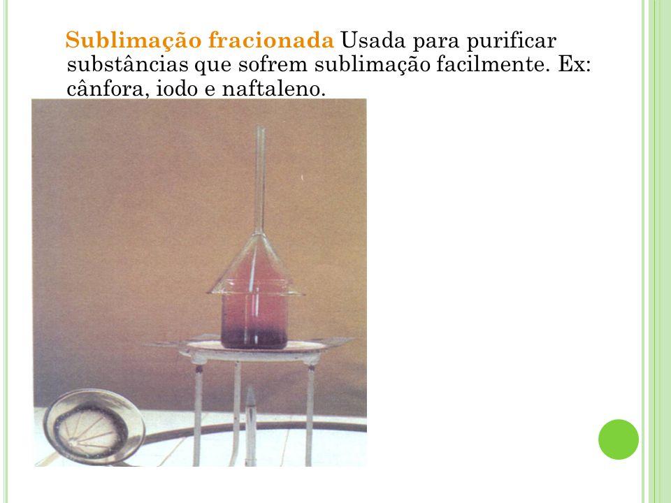 Sublimação fracionada Usada para purificar substâncias que sofrem sublimação facilmente. Ex: cânfora, iodo e naftaleno.