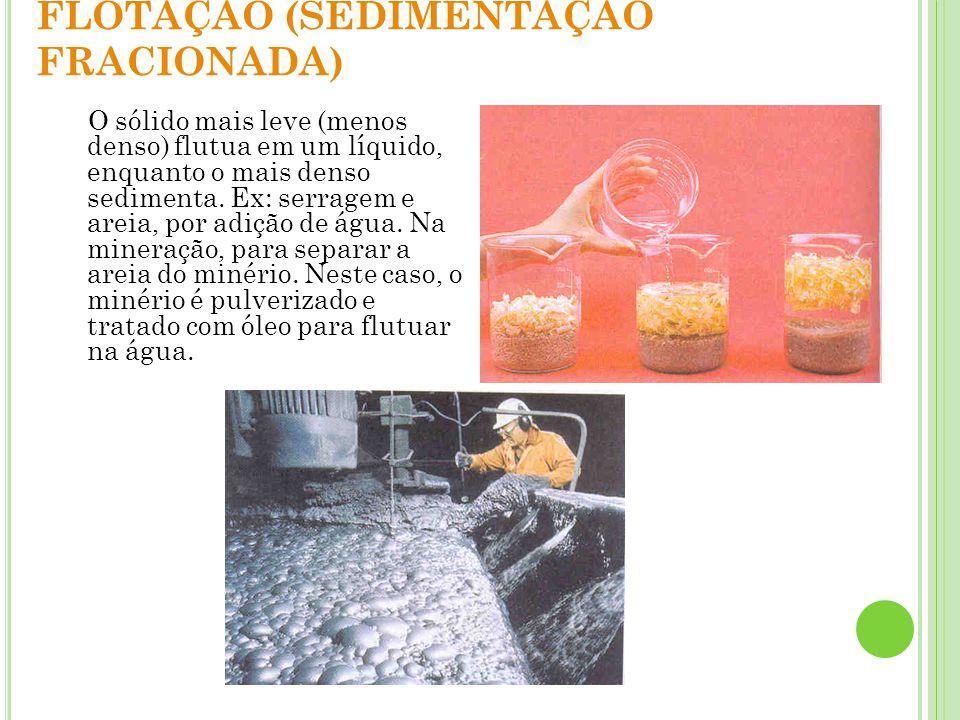Destilação simples: Funciona quando, no aquecimento de uma mistura homogênea de um líquido + um sólido, apenas o líquido vaporiza.