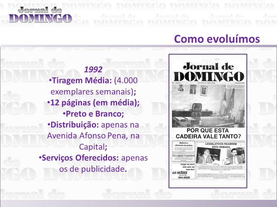 Como evoluímos 1992 Tiragem Média: (4.000 exemplares semanais); 12 páginas (em média); Preto e Branco; Distribuição: apenas na Avenida Afonso Pena, na Capital; Serviços Oferecidos: apenas os de publicidade.